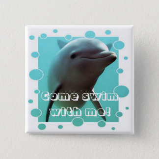 Smiley the Dolphin! 15 Cm Square Badge