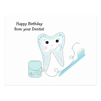 Smiley Tooth and Toothbrush Dental Design Postcard