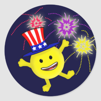 Smiley Uncle Sam Classic Round Sticker