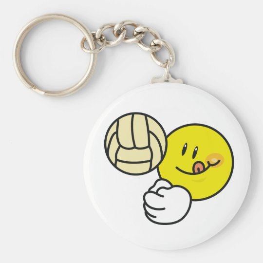 Smiley Volleyball Basic Round Button Key Ring