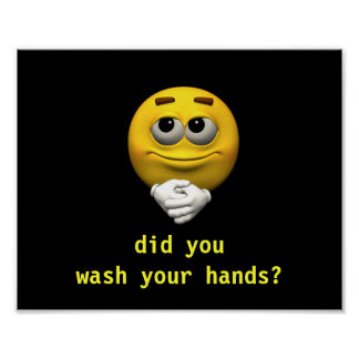 Smiley Wash your Hands Poster