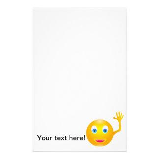 Smiley waving cartoon stationery design