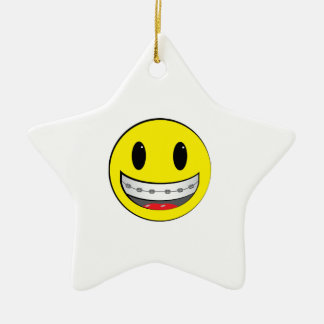 Smiley with braces christmas ornament