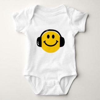 Smiley with headphones baby bodysuit