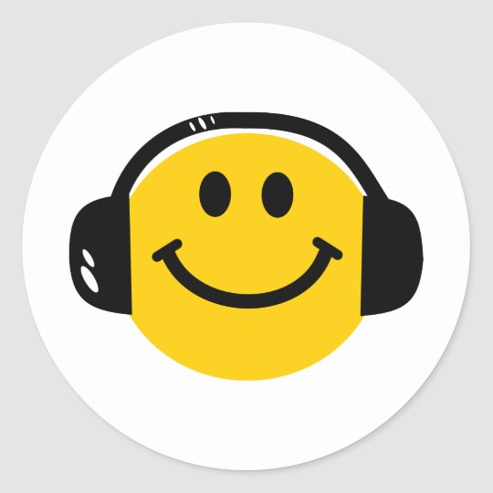 Smiley with headphones classic round sticker