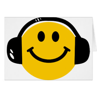 Smiley with headphones greeting cards