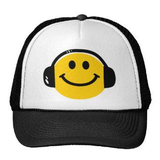 Smiley with headphones hats