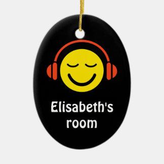 Smiley with headphones music door hanger ornament