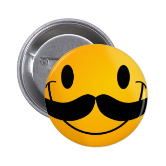 Smiley with Mustache 6 Cm Round Badge