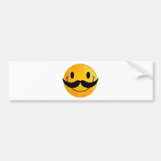 Smiley with Mustache Bumper Sticker