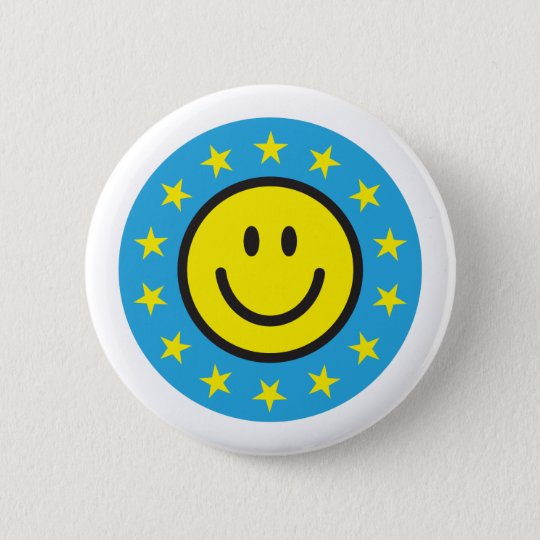 Smiley with yellow stars - blue 6 cm round badge