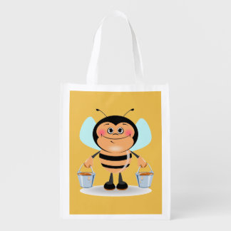Smiley Worker Bumble Bee Carrying Buckets of Honey