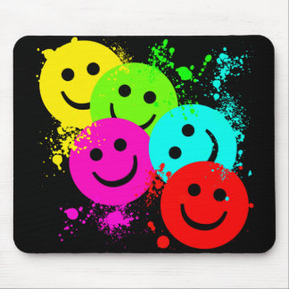 SMILEYS AND PAINT SPLATTER MOUSE PAD