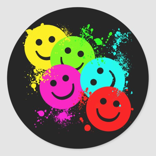 SMILEYS AND PAINT SPLATTER ROUND STICKER