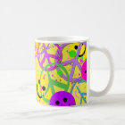 SMILEYS AND PEACE SIGNS COFFEE MUG