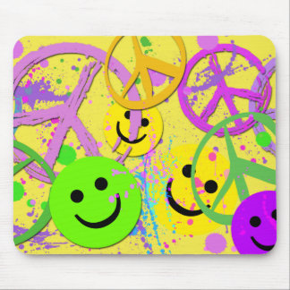 SMILEYS AND PEACE SIGNS MOUSE PAD
