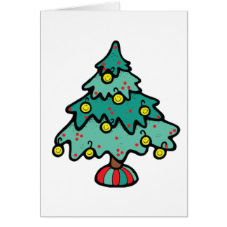 Smileys ornaments hanging on a christmas tree card