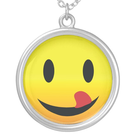 Smilie Face Lick Lips Silver Plated Necklace