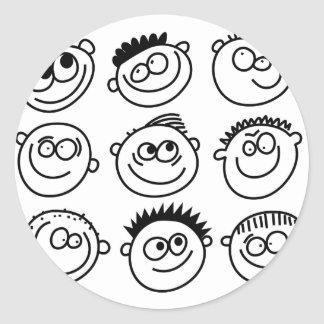 Smilie Faces Round Sticker
