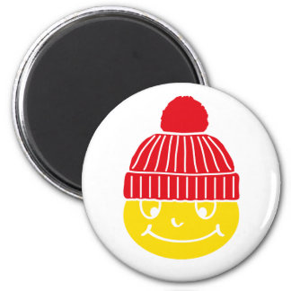 Smilie with cap refrigerator magnets