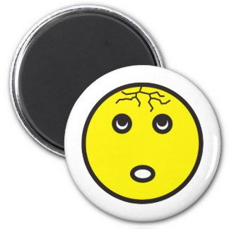 smilie with tears cracked 6 cm round magnet