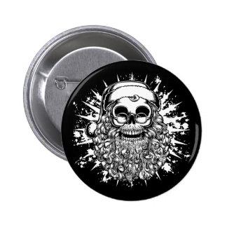 Smilin' Santa Skull -bw 6 Cm Round Badge