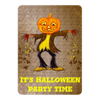 Smiling and dancing Halloween Scarecrow 13 Cm X 18 Cm Invitation Card