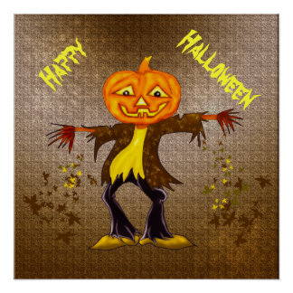 Smiling and dancing Halloween Scarecrow Poster