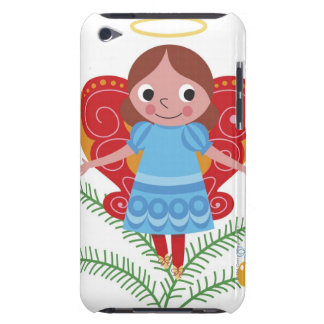 Smiling angel with halo and butterfly wings, barely there iPod cases