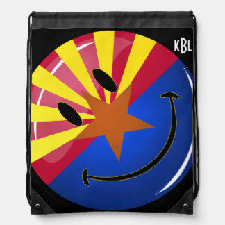 Smiling Arizona Flag Drawstring Bag