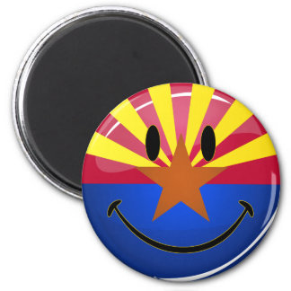 Smiling Arizona Flag 2 Inch Round Magnet
