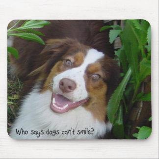 Smiling Australian Shepherd dog Mousepad