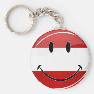 Smiling Austrian Flag Basic Round Button Key Ring