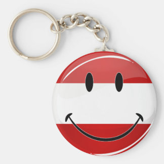 Smiling Austrian Flag Key Ring
