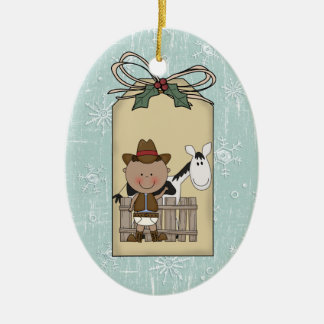 Smiling Baby Boy Cowboy Pony 2-Sided Gift Tag Christmas Ornament