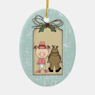 Smiling Baby Girl Toddler Cowgirl Pony Gift Tag Christmas Ornament