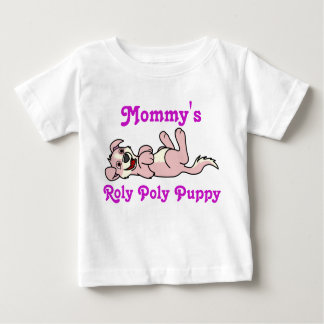Smiling Baby Pink Puppy Dog with Blaze Roll Over Baby T-Shirt
