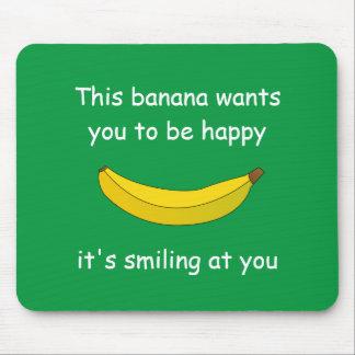 smiling banana mouse pad