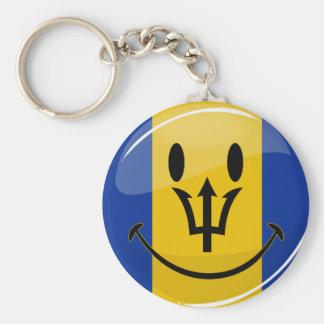 Smiling Barbados Flag Key Ring