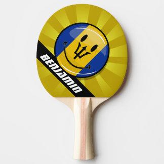 Smiling Barbados Flag Ping Pong Paddle
