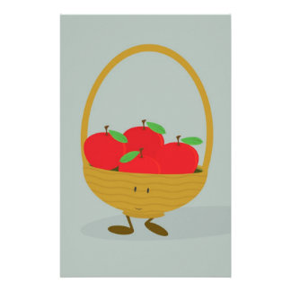 Smiling basket filled with apples custom stationery