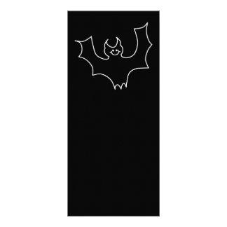 Smiling Bat. White line illustration. Full Color Rack Card