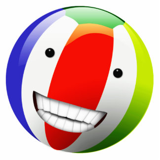 Smiling Beach Ball Happy Face Standing Photo Sculpture
