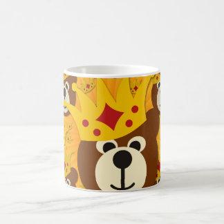 Smiling Bear With Crown yellow shine Basic White Mug