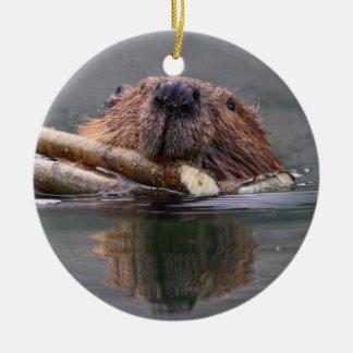 smiling beaver round ceramic decoration