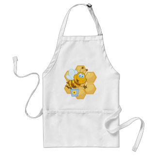 Smiling bee hold a bucket aprons