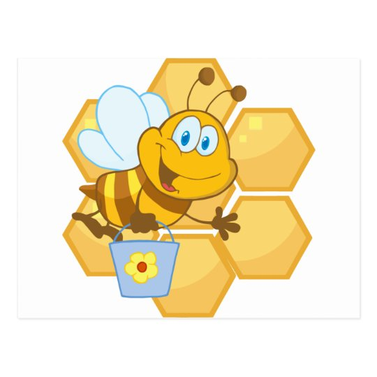 Smiling bee hold a bucket postcard
