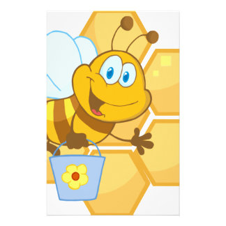 Smiling bee hold a bucket custom stationery