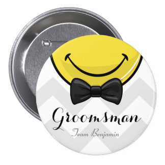 Smiling Best men Wedding Button