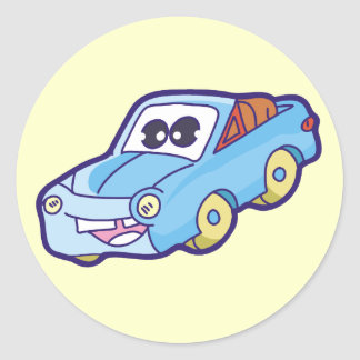 Smiling Blue Car Tshirts and Gifts Round Sticker